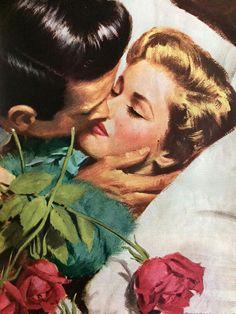 pictures Kiss me Illustration by Arthur Sarnoff, 1951 Romance Art, Vintage Romance, Vintage Art, Jolie Photo, Arte Pop, Pulp Art, Illustrations, Pin Up Art, Vintage Comics