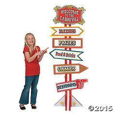 Fun Express Big Top Circus and Carnival Directional Sign feet Tall Cardboard Stand up) Party Decor Carnival Signs, Carnival Decorations, Diy Carnival, Carnival Themed Party, School Carnival, Carnival Birthday Parties, Carnival Themes, Circus Birthday, First Birthday Parties