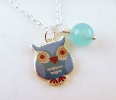 Cute owl necklace with Czech glass   Deanna at TopHatter.com