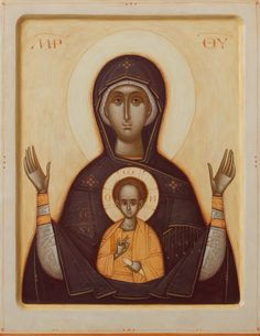 Theotokos by Gabriel Toma Chituc Byzantine Art, Byzantine Icons, Religious Icons, Religious Art, Blessed Mother Mary, Orthodox Icons, Sacred Art, Christian Art, Our Lady