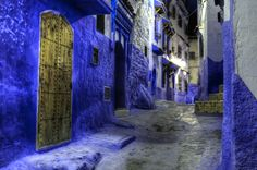 Chefchaouen at night Marrakesh, Morocco, Backdrops, Night, Indigo, Wonderful Images, City, Travel, Roads