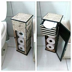 porta papel higienico Cd Crafts, Diy Craft Projects, Diy And Crafts, Diy Toilet Paper Holder, Cardboard Organizer, Diy Storage Boxes, Decoupage Vintage, Craft Box, Diy Box