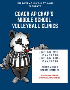 Planning to play on a middle school volleyball team?     Click to register for our middle school clinics in June!
