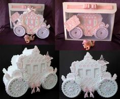 Scalloped Layered 3d Carriage Box SVG on Craftsuprint designed by Tina Fitch - This is stunning once made up and can be used for many occasions such as Wedding Favour boxes, New Baby gift keepsake, Birthday keepsake for your special Princess and so much more - Now available for download!