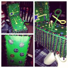 A shoebox float for my son's preschool parade. I used an old shoebox, wrapping paper, mardi gras beads, pipe cleaners, glitter stickers, mardi gras coins, wooden rods, wooden balls for wheels and a hot glue gun to put it all together. I didn't hot glue the rods bc I wanted the wheels to roll