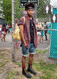 Troy Landry, 25, on holiday from New Orleans, came to AfroPunk to see DJ Musa of Spank Rock. He considers himself his own style guru. Street Fashion: Afro Punk Festival 2012