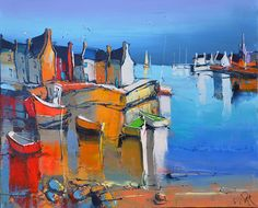 Eric Lepape The red boats Eric Le Pape, Mediterranean Paintings, Pen And Wash, Mountain Sunset, Pen And Watercolor, Colorful Paintings, Ocean Art, Mural Art, French Artists