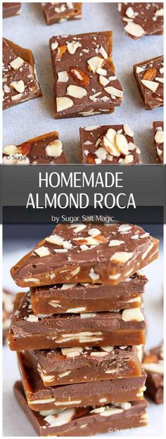 Homemade Almond Roca. Crisp buttery caramel toffee, filled with almonds and topped with chocolate #toffee #almonds