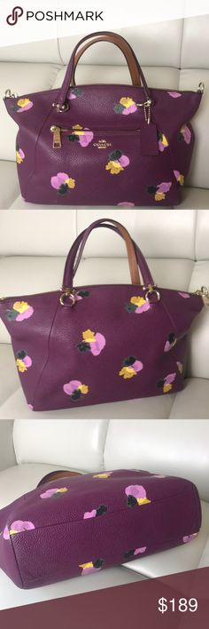 100% Authentic Coach floral leather bag 100% Authentic from my closet.  In good condition. Minor signs of wear on the corners. Nice front pocket. Spacy interior with a big zipper pocket. 10.5 inches wide at the bottom, 14 inches wide at the top. With chain drop stands at 14 inches. Without the chain up 9 inches tall.   Comes with dustbag.  No trades Coach Bags Mini Bags