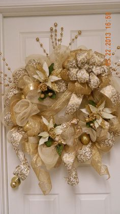 Deco Mesh Classic Golden Wreath by MamaLucys on Etsy, $137.97