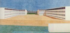 inspired by Ludwig Hilberseimer: Giorgio Grassi Architecture Graphics, Architecture Art, Rationalism, Aldo, Modern Architects, Pastel Grunge, Virtual Museum, Urban Landscape, Borgo