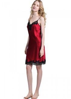 Ladies Short Silk Nightgown With Flower Lace. Silk SleepwearNightwearSilk  NightgownPjsPajamasOnlineshoppingSlip ... ded02f60d