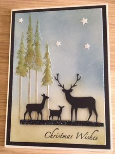 die cut deer trio by memory box .embossing folder tall trees by Tim holtz . Christmas Cards 2017, Christmas Deer, Xmas Cards, Holiday Cards, Winter Christmas, Scrapbooking, Scrapbook Cards, Memory Box Cards, Patch Aplique