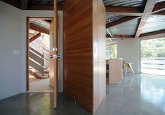 concrete floor + wood casework