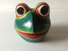 Frog Toad Pattern Face Wood Hinged Trinket Dish Folk Art Vintage Collectible Open Mouth by afunspottoshop on Etsy