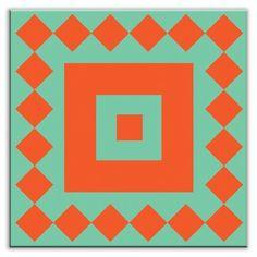 Oscar & Izzy Folksy Love Decorative Tile in Checkers Red/Orange-Green