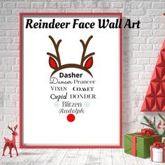 All of Satans reindeer - even Rudolph! All wrapped into a cute reindeer shaped face and ready to print out. Grab a frame from your local dollar store and you have budget-friendly whimsical decor to display. Reindeer Face, Christmas Wall Art, Operation Christmas, Christmas Printables, Xmas Decorations, Dollar Stores, Letter Board, Craft Supplies, Whimsical
