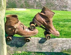 Antique Early 1910s Roller Skates / Brown Leather / Wooden Wheels