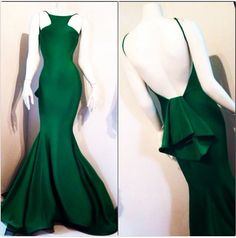 Emerald Green Spandex Sexy Backless Mermaid Prom Cocktail Dresses Evening Gowns