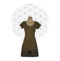 Organic cotton and Hemp Tunic/Mini Dress with sacred geometry print. Handmade to order by Mystery School #hemp #handmade #etsy #sacredgeometry #hempclothing #etsyfashion #sustainable #organic #organicclothing