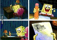 Spongebob Doing His Essay About Myself - image 6