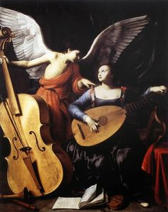 Saint Cecilia and the Angel (c.1610).Carlo Saraceni(Italian, 1579-1620).Oil on canvas.Galleria Nazionale d'Arte Antica, Rome. The most distinctive element is the extraordinarily inventive composition, dominated by the enormous wings of the angel and by the diagonal of the bass viol. Ceceliais tuning her lute with a delicate movement, according to the instructions of an angel next to her. Her devoted attention indicates that her skill in the handling of instruments is derived from…