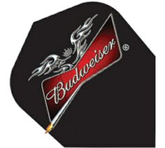 Dart flights bud light poly slim dart flights white with for Budweiser logo tattoos