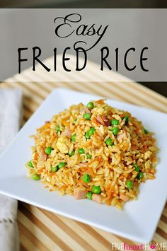 Easy Fried Rice ~ customize with leftover chicken, beef, pork, shrimp, or ham for a quick weeknight meal...or it's also perfect for ringing in the Chinese New Year! | FiveHeartHome.com