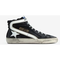 Golden Goose Deluxe Brand Golden Goose Deluxe Brand Slide Hi-Top... ($323) ❤ liked on Polyvore featuring shoes, sneakers, navy, navy blue sneakers, navy sneakers, high top trainers, laced up shoes and lace up high top sneakers