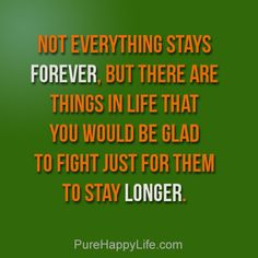 #life #quotes purehappylife.com - Not everything stays forever, but there are things in life that...