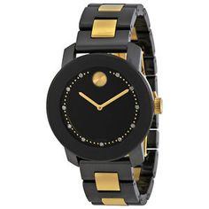 Movado Bold Black Dial Black Ceramic and Gold Ion-plated Unisex Watch 3600172 Casual Watches, Watches For Men, Men's Watches, Jewelry Watches, Breitling Watches, Luxury Watch Brands, Black Gold Jewelry, Diamond Quartz, Stainless Steel Bracelet