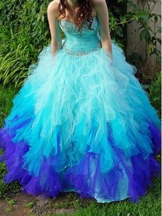 Blue Ball Gown Sweetheart Neck Prom Dress