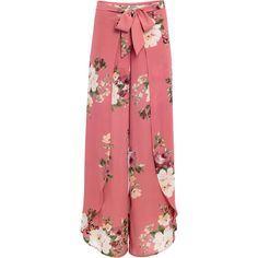 Venus Women's Plus Size Floral Open Leg Pants (£28) ❤ liked on Polyvore featuring plus size women's fashion, plus size clothing, plus size pants, pink, tie pants, pink trousers, plus size floral print pants, zipper pants and red trousers
