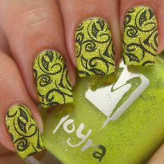Another neon #moyra polish for this week's #texturenailluminati. This is 3 coats of Sunflower stamped #bundlemonster Polynesia BM-XL115