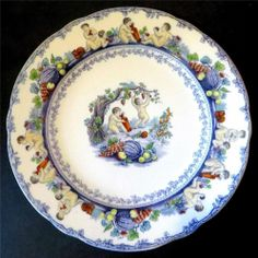 Such a pretty set... 19thC Polychrome Cherubs Lilac Transferware Comport + 5 Plates Dessert Set 1860s - £9.95