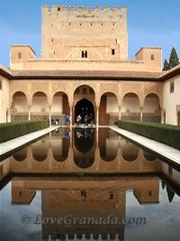 patio of lions in alhambra in granada, spain