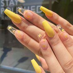 Acrylic Nails Yellow, Bling Acrylic Nails, Acrylic Nails Coffin Short, Simple Acrylic Nails, Best Acrylic Nails, Gel Nails, Yellow Nail Art, Coffin Nails, Clear Acrylic