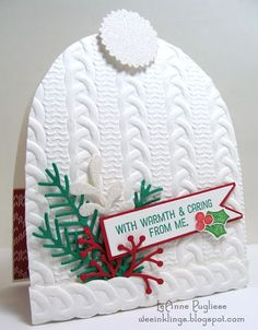 Stampin' Up! Christmas pretty pines, cable knit embossing folder