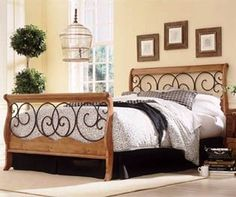 Dunhill Autumn Brown & Honey Oak Finish King Size Wood Metal Bed...CLICK for more detail...FREE Shipping on order over $25