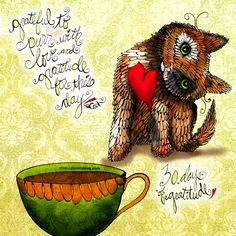 """Grateful to purr with love and #gratitude (or catitude) for this day.""  What my #Coffee says to me November 19 - drink YOUR life in - celebrate  with PURRpetual and continuous gratitude, take each day as it comes! New illlustration style today, playing with continuous loop of hearts! (What my Coffee says to me is a daily, illustrated series created by Jennifer R. Cook for YOUR mental health) I feel PURRpetual gratitude with your donation to this series:  https://www.gofundme.com/k84nhxaj"