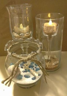 Bridal Shower - Jamaica Beach Wedding  Centerpieces, candles, $1 store finds