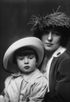 """""""Evelyn Nesbit Thaw and boy """"(likely Russell William Thaw),  portrait photograph by Arnold Genthe, 1913.  2x posted"""