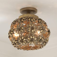"""Young House Love Oopsy Daisy Ceiling Light This Young House Love metal daisies ceiling light blooms in a gold metallic wash painted finish. This cheerful ceiling light will brighten any room. 2x40 watt max. medium base lamps. (12""""Hx11""""W)"""