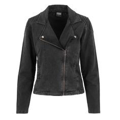 Acid wash Terry dames biker jacket zwart - L - Urban Classics