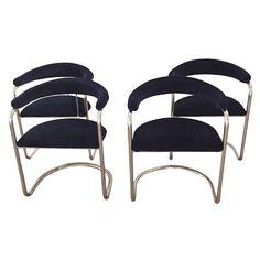 Chrome & Velvet Armchairs - Set of 4 on Chairish.com