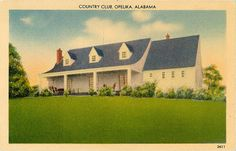 Vintage postcard of the Country Club in Opelika, Alabama.