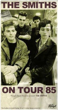 The Smiths on Tour Rough Trade Records Presents. Rock Posters, Band Posters, Concert Posters, Festival Posters, Poster Wall, Poster Prints, Punk Poster, Gig Poster, The Smiths Morrissey