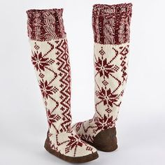 MUK LUKS Ava Knit Snowflake Boot Slippers  I would love to have these for lounging at home!