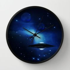 UFO galaxy Wall Clock by Laureenr