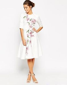 Chi Chi London Textured Pleat Front Midi Dress With Large Floral Placement at asos.com #dress #women #covetme #chichilondon #asos #floral #lace #pleat #print #midi